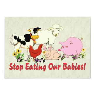"""Consumición de los bebés animales invitación 5"""" x 7"""""""