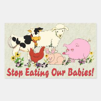 Consumición de los bebés animales etiqueta