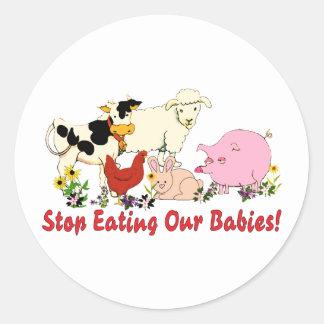 Consumición de los bebés animales etiquetas redondas