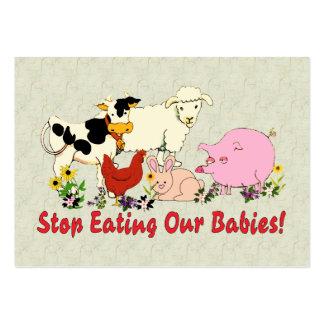 Consumición de los bebés animales tarjetas de visita grandes