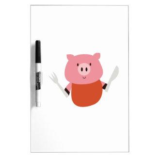 Consumición del cerdo pizarra blanca