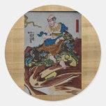 Consumición del samurai pegatina redonda