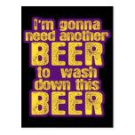 Consumición divertida de la cerveza postal