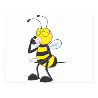 Consumición feliz de la abeja postales