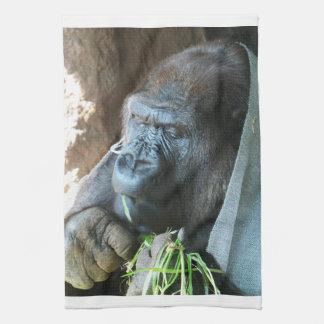 Consumición japonesa del gorila del ~ de la toalla de cocina