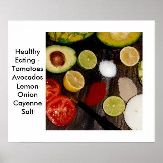 Consumición sana del poster de las comidas