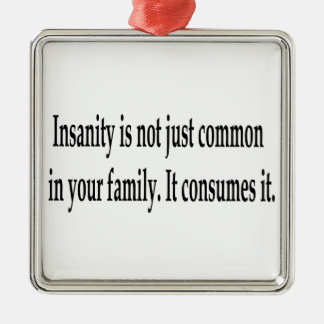 Consuming Insanity Square Metal Christmas Ornament