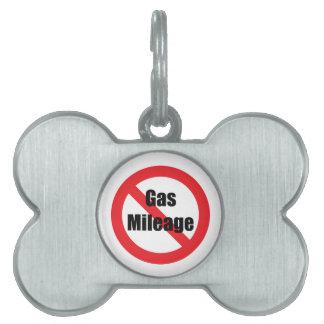 Consumo de combustible placas de nombre de mascota