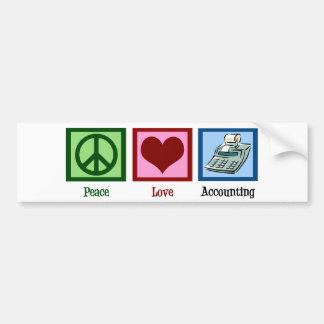 Contabilidad del amor de la paz pegatina de parachoque