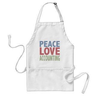 Contabilidad del amor de la paz delantal