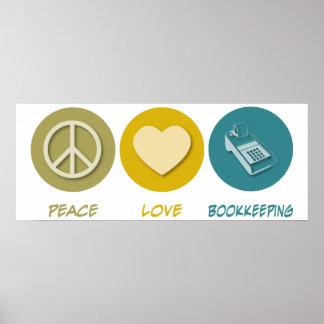 Contabilidad del amor de la paz impresiones