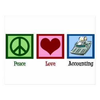 Contabilidad del amor de la paz tarjeta postal