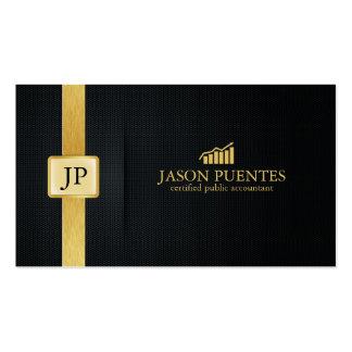 Contabilidad elegante del negro y del oro con el l tarjeta de visita