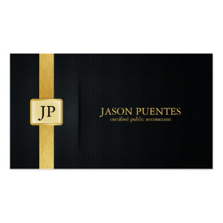 Contabilidad elegante del negro y del oro tarjetas de visita