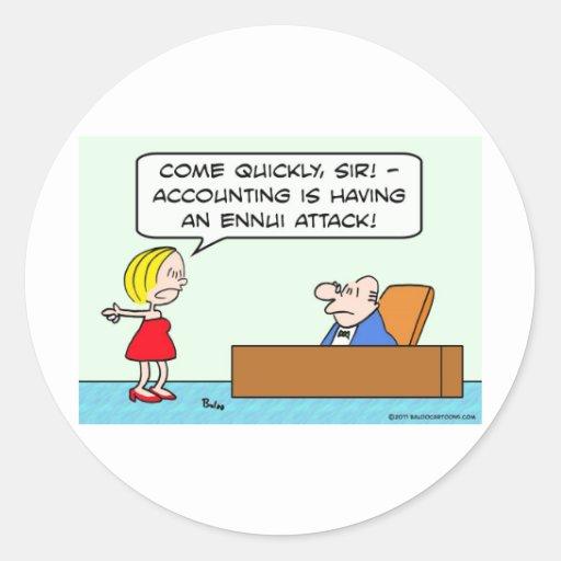 contabilidad, hombre de negocios, tedio, ataque pegatina redonda