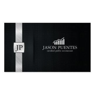Contabilidad negra y de plata elegante con el tarjetas de visita