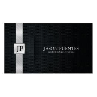 Contabilidad negra y de plata elegante tarjeta de visita
