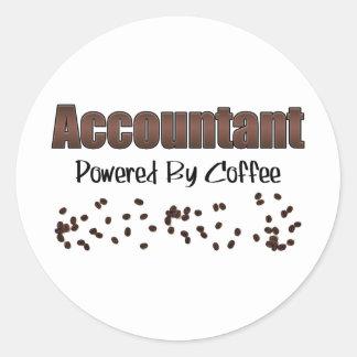 Contable accionado por el café pegatina redonda