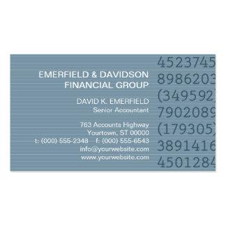 Contable azul de la tela a rayas de las columnas tarjetas de visita