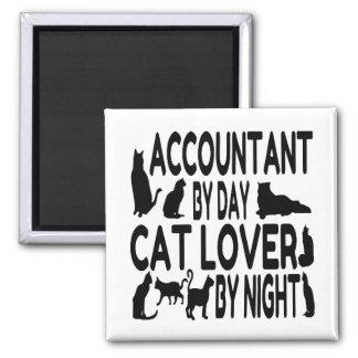 Contable del amante del gato del día por noche imán cuadrado