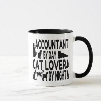 Contable del amante del gato del día por noche taza