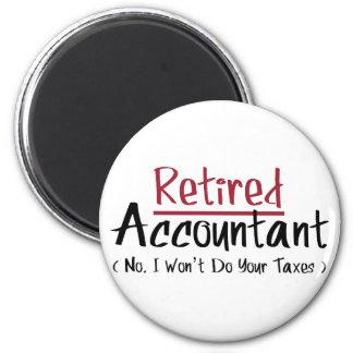 Contable jubilado, ningún no haré sus impuestos imán redondo 5 cm
