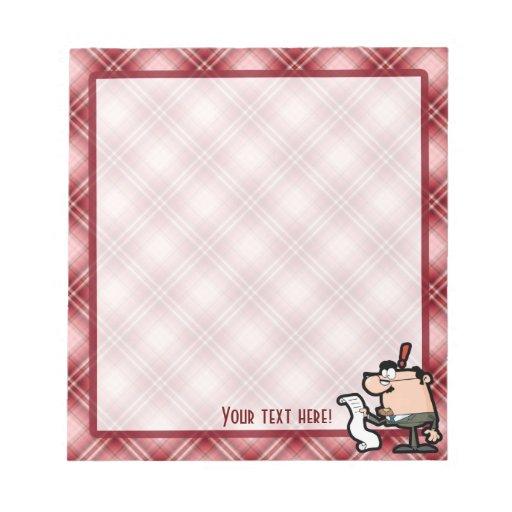 Contable rojo de la tela escocesa bloc de papel