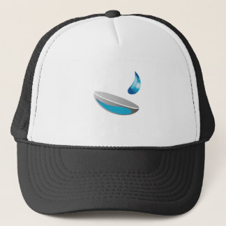 Contact lens with solution trucker hat