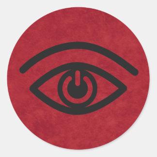 Contacto visual pegatina redonda