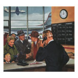 Contador de billete de avión del vintage con los p impresiones