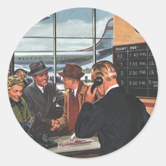 Contador de billete de avión del vintage con los p etiquetas