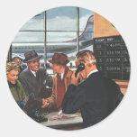 Contador de billete de avión del vintage con los etiquetas redondas