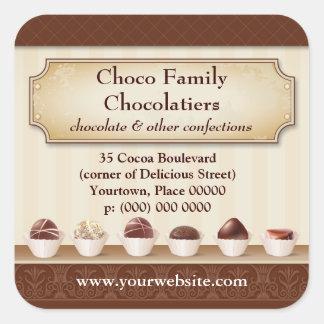 Contador de la exhibición de Chocolatier Pegatina Cuadrada