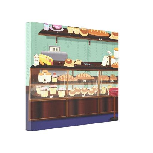 Contador de la tienda de la torta lona estirada galerías