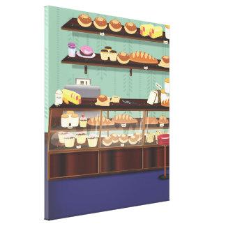 Contador de la tienda de la torta lienzo envuelto para galerias