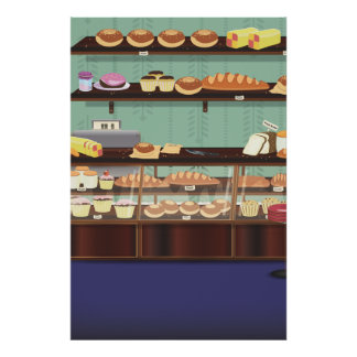 Contador de la tienda de la torta póster