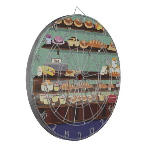 Contador de la tienda de la torta tabla dardos