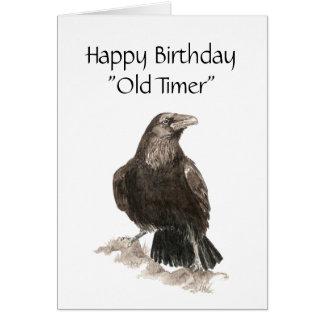 Contador de tiempo divertido, viejo, cumpleaños, a tarjeta de felicitación
