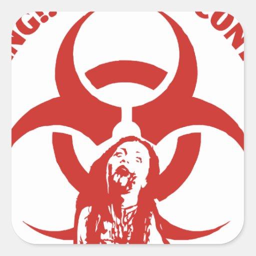 Contagio del Bio-peligro del zombi Pegatina Cuadrada