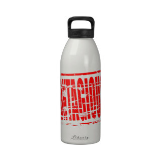 Contagious red rubber stamp effect water bottles