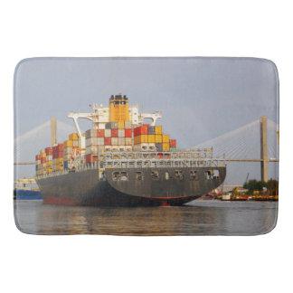 Container Cargo Ship. Bath Mat