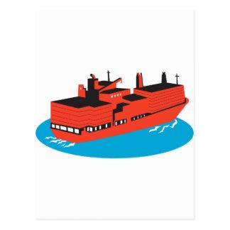 container cargo ship retro postcard
