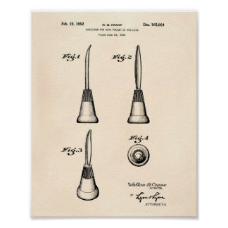 Container For Nail 1952 Patent Art Old Peper Poster