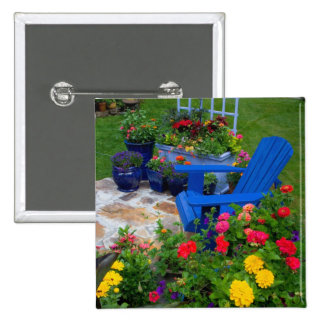 Container Garden design with blue chair in our Button