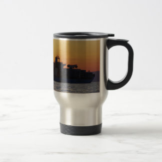 Container ship at sunset mugs