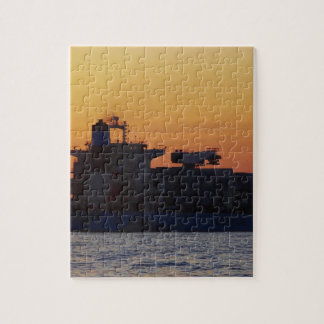 Container ship at sunset jigsaw puzzles