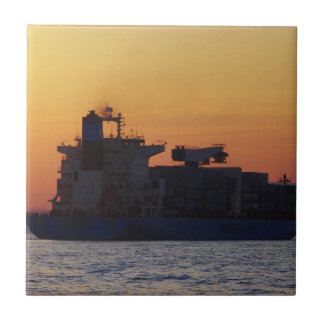 Container ship at sunset small square tile