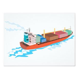 Container Ship Cargo Boat Retro Personalised Invites