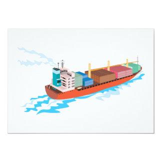 Container Ship Cargo Boat Retro Personalised Invitation