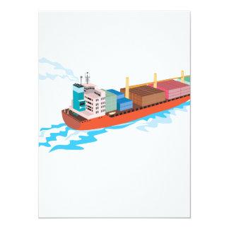 Container Ship Cargo Boat Retro Personalized Invites